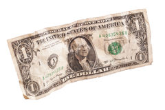 Dollaro di carta sgualcito Fotografia Stock Libera da Diritti