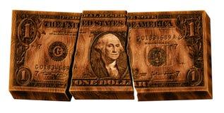 Dollaro di legno rotto Fotografia Stock