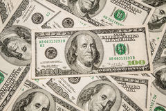 Dollaro di valuta dei soldi - $ 100 come fondo Fotografia Stock Libera da Diritti