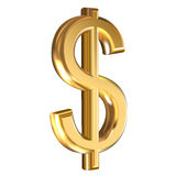 Dollaro dorato del segno Immagini Stock Libere da Diritti