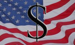 Dollaro e bandierina americani Immagini Stock