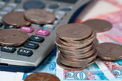 Dollaro e calcolatore di Hong Kong Fotografia Stock Libera da Diritti