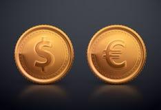 Dollaro e euro della moneta Fotografia Stock