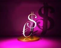 Dollaro e euro di simbolo Fotografie Stock Libere da Diritti