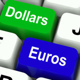 Dollaro e Euros Keys Mean Foreign Currency Fotografia Stock