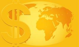 Dollaro e globo Immagini Stock Libere da Diritti