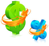 Dollaro e le percentuali con le frecce Immagini Stock