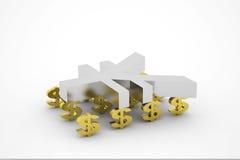 Dollaro e Rmb Immagini Stock