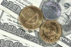 Dollaro e soldi dei colones Immagine Stock Libera da Diritti
