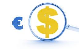 Dollaro ed euro Fotografia Stock