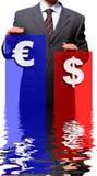 Dollaro ed euro Fotografie Stock Libere da Diritti
