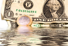 Dollaro ed euro americani Fotografie Stock