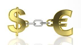 Dollaro ed euro dell'oro Immagini Stock
