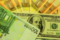 Dollaro ed euro note Fotografia Stock Libera da Diritti