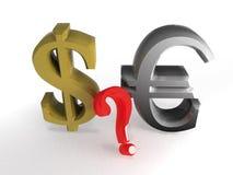 Dollaro ed euro sull'aereo bianco Fotografia Stock Libera da Diritti