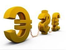 Dollaro, euro e libbra Fotografie Stock Libere da Diritti