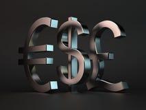 Dollaro, euro, libbra illustrazione di stock