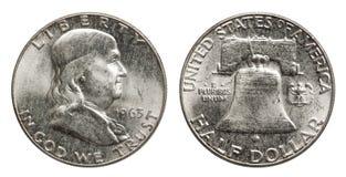 Dollaro Franklin 1963 della moneta d'argento degli Stati Uniti mezzo immagini stock libere da diritti