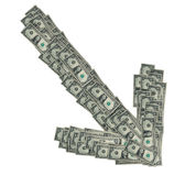 Dollaro giù Fotografia Stock