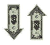 Dollaro giù & dollaro in su Fotografia Stock