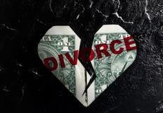 Dollaro incrinato di divorzio del cuore Fotografia Stock Libera da Diritti