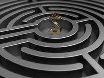 Dollaro in labirinto illustrazione di stock