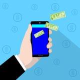 Dollaro mobile di verde di Hand Pay Concept dell'uomo d'affari di controllo di pagamento dello Smart Phone Fotografia Stock