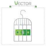 Dollaro nel formato stabilito di vettore della gabbia grigia dei soldi Fotografie Stock Libere da Diritti