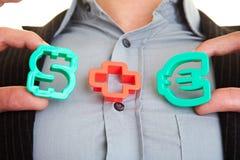Dollaro più l'euro Fotografia Stock Libera da Diritti