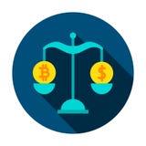 Dollaro Rate Circle Icon di Bitcoin Immagini Stock Libere da Diritti