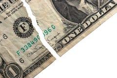 Dollaro strappato fotografie stock
