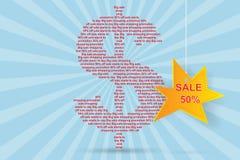 Dollaro un carattere con l'insegna di vendita e del testo Immagine Stock Libera da Diritti