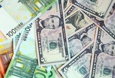 Dollaro US Ed euro Fotografie Stock Libere da Diritti