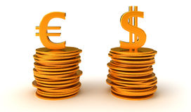 Dollaro US Ed euro equazione di valuta Immagine Stock