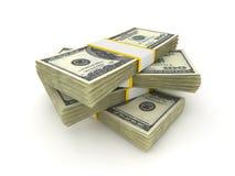 100 dollarpengarpackar Fotografering för Bildbyråer