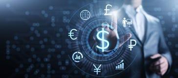 Dollarpictogram op het scherm Munt Forex van het handeltarief Bedrijfsconcept stock fotografie