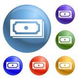 Dollarpictogrammen geplaatst vector stock illustratie