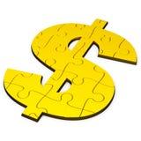 Dollarpussel, guld- och fast Royaltyfria Bilder