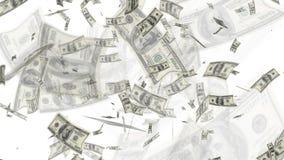 $100 dollarräkningar som flyger bakgrund Royaltyfria Bilder