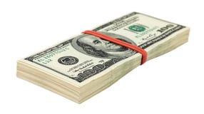Dollarräkningar som isoleras på vit bakgrund Arkivbilder