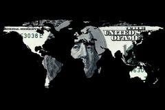 Dollarrekening en wereldkaart Stock Afbeeldingen