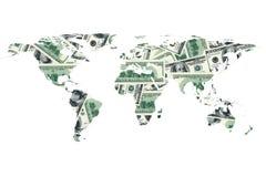 Dollarrekening en wereldkaart Royalty-vrije Stock Afbeeldingen