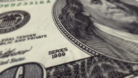 Dollarrekening $100 Macroclose-uppan stock videobeelden
