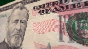 Dollarrekening $50 Macroclose-uppan stock videobeelden