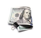 100 dollarrekening met een klem Stock Fotografie