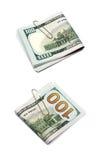 100 dollarrekening met een klem Royalty-vrije Stock Foto