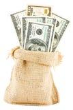 Dollarrekeningen in een canvaszak Stock Afbeeldingen