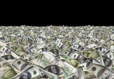 Dollarrekeningen op zwarte achtergrond Royalty-vrije Stock Fotografie