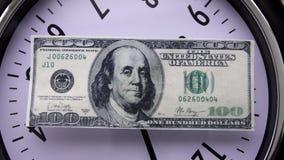 100 dollarrotatie op de wijzerplaat stock video