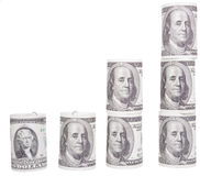 Dollars. Financial pyramid in the growth of the notes (Dollar Royalty Free Stock Image